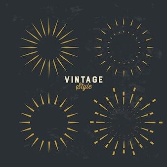 Conjunto de elemento de design vintage sunburst ouro