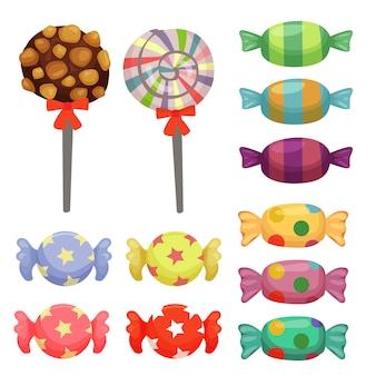 Conjunto de elemento de doces de cana-de-doces