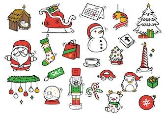 Conjunto de elemento de doodle de Natal