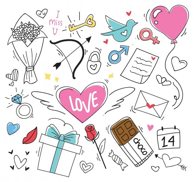 Conjunto de elemento de doodle dos namorados