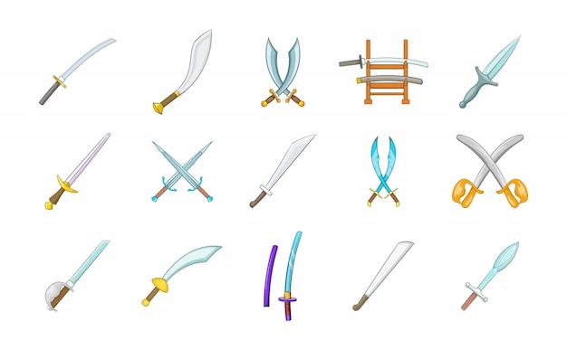 Conjunto de elemento de espada. conjunto de desenhos animados de elementos do vetor de espada