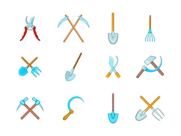 Conjunto de elemento de ferramentas de fazenda. conjunto de desenhos animados de elementos do vetor de ferramentas agrícolas