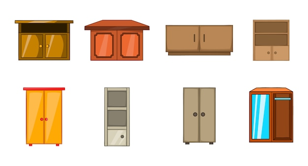 Conjunto de elemento de guarda-roupa. conjunto de desenhos animados de elementos do vetor de guarda-roupa