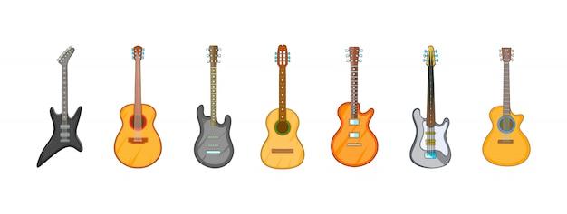 Conjunto de elemento de guitarra. conjunto de desenhos animados de elementos do vetor de guitarra