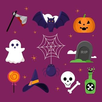 Conjunto de elemento de halloween de design plano