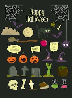 Conjunto de elemento de halloween