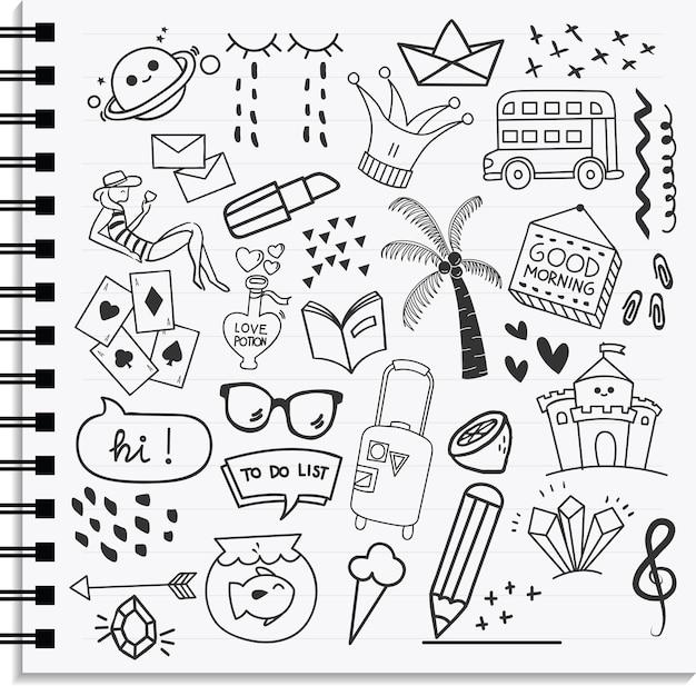 Conjunto de elemento de ícone e design estilo de doodle desenhado na mão