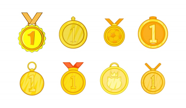 Conjunto de elemento de medalha. conjunto de desenhos animados de elementos do vetor de medalha