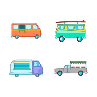 Conjunto de elemento de minivan. conjunto de desenhos animados de elementos do vetor de carrinha
