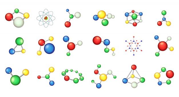Conjunto de elemento de molécula. conjunto de desenhos animados de elementos do vetor de molécula