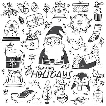Conjunto de elemento de natal em estilo doodle