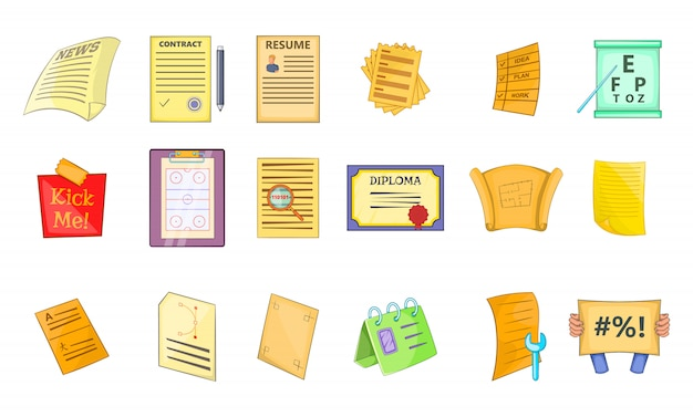 Conjunto de elemento de papel. conjunto de desenhos animados de elementos do vetor de papel