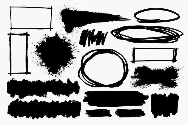 Conjunto de elemento de pincel em preto sobre fundo branco