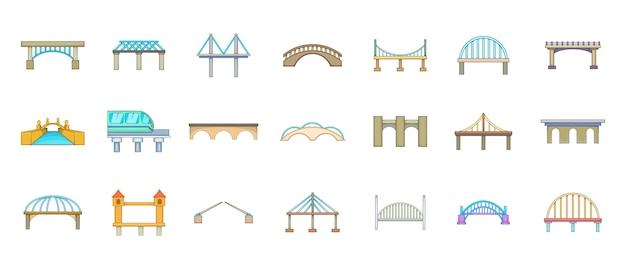 Conjunto de elemento de ponte. conjunto de desenhos animados de elementos do vetor de ponte