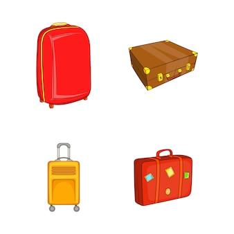 Conjunto de elemento de saco de viagem. conjunto de desenhos animados de elementos do vetor de mala de viagem