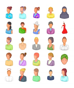 Conjunto de elemento de silhueta de mulher. conjunto de desenhos animados de elementos do vetor silhueta de mulher