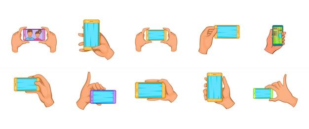 Conjunto de elemento de smartphone de mão. conjunto de desenhos animados de elementos do vetor de smartphone de mão