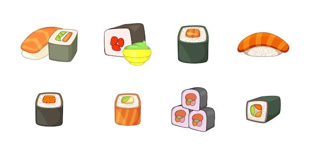 Conjunto de elemento de sushi. conjunto de desenhos animados de elementos do vetor de sushi