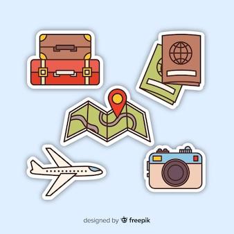 Conjunto de elemento de viagem de mão desenhada