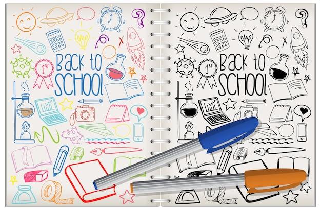 Conjunto de elemento escolar doodle em notebook
