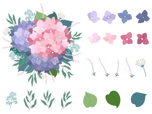 Conjunto de elemento floral lindo