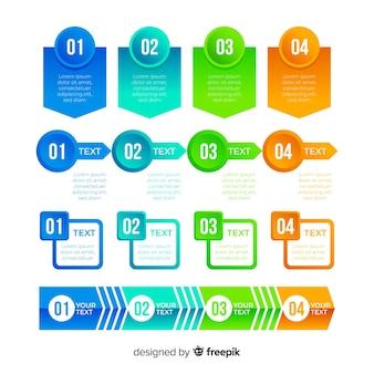 Conjunto de elemento infográfico gradiente