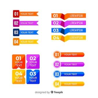 Conjunto de elemento infográfico plana