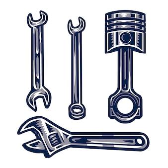 Conjunto de elemento para mecânico, isolado no fundo branco
