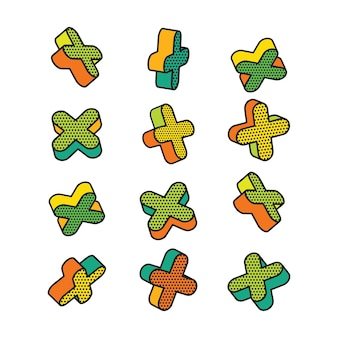 Conjunto de elementos 3d coloridos no estilo pop art.