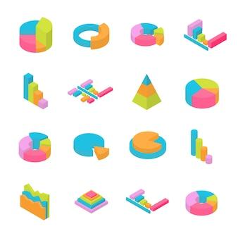 Conjunto de elementos 3d isométricos infográfico