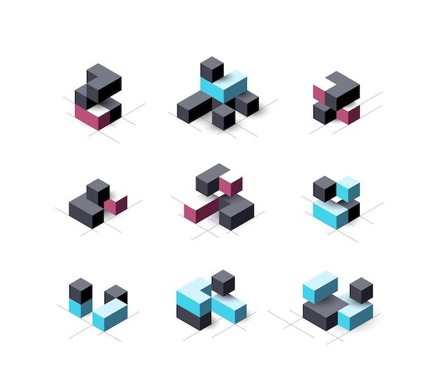 Conjunto de elementos abstratos de design cúbico.