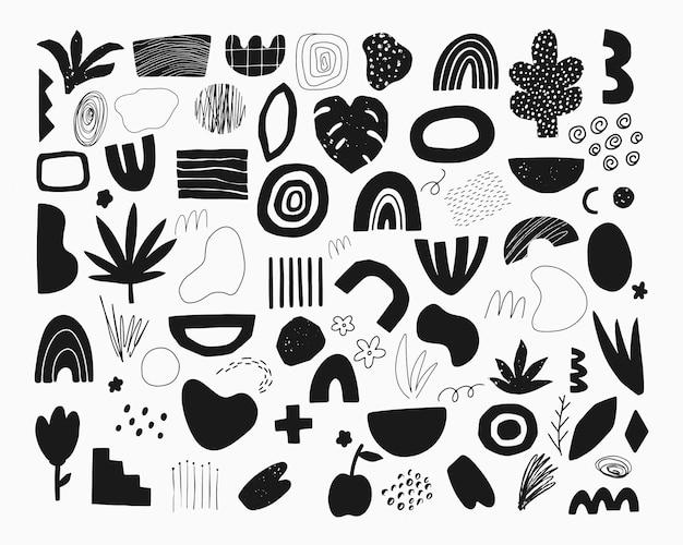 Conjunto de elementos abstratos de doodle desenhado à mão.