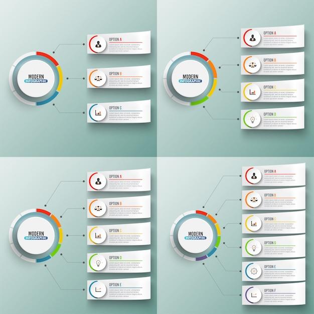 Conjunto de elementos abstratos do gráfico modelo de vetor infográfico com círculos de rótulo.
