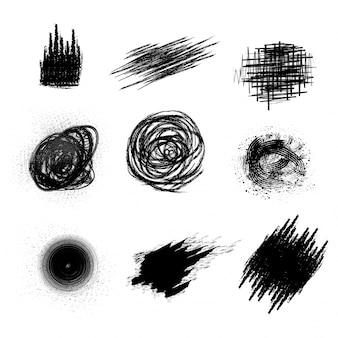 Conjunto de elementos abstratos em preto como pinceladas, respingos ou manchas de cor de água.