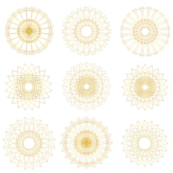 Conjunto de elementos abstratos guilloche