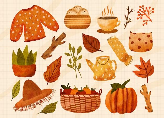 Conjunto de elementos aquarela outono suéter pães café planta em vaso folhas travesseiro maçã abóbora