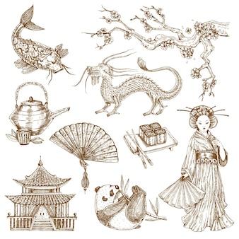 Conjunto de elementos asiáticos desenhados à mão
