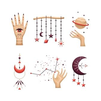 Conjunto de elementos astrológicos místicos