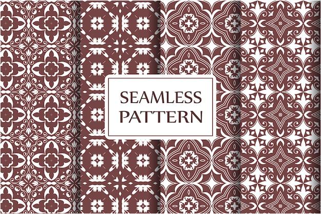 Conjunto de elementos barrocos florais de damasco com padrão