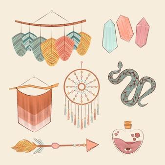 Conjunto de elementos boho desenhado à mão