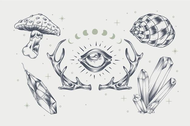 Conjunto de elementos boho desenhados à mão para gravura
