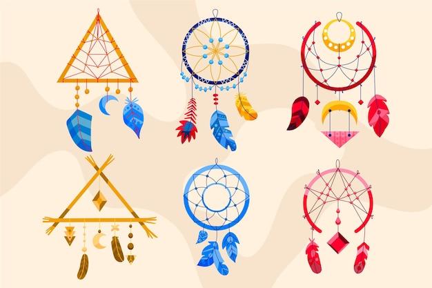 Conjunto de elementos boho desenhados à mão