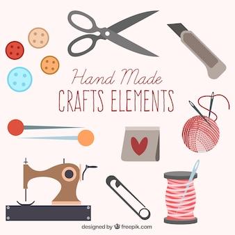 Conjunto de elementos bonitos de costura