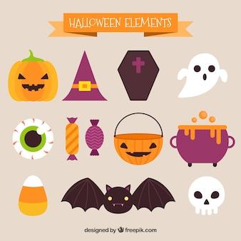 Conjunto de elementos bonitos do dia das bruxas