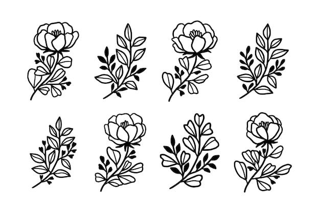 Conjunto de elementos botânicos de flores e folhas desenhados à mão
