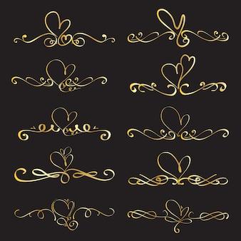Conjunto de elementos caligráficos decorativos de coração para a decoração.