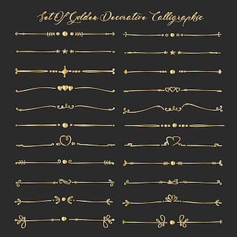 Conjunto de elementos caligráficos decorativos dourados para a decoração.