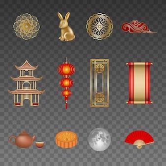 Conjunto de elementos chineses do festival de meados do outono