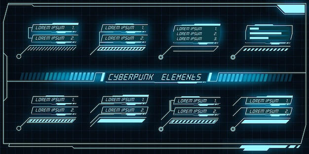 Conjunto de elementos ciberpunk
