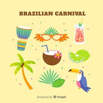 Conjunto de elementos coloridos carnaval brasileiro